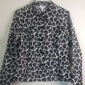 Charter club large button down jacket leopard